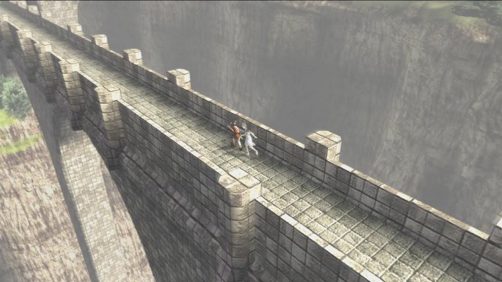 Ico and Yorda traversing along the border of the castle towards an east-end tower.